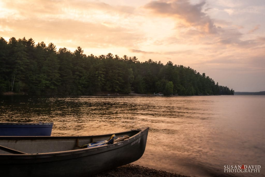 Canoes bathe in the last of the suns rays